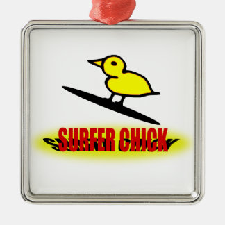 Surfer Chick Christmas Ornament