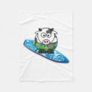 Surfer Cow Fleece Blanket