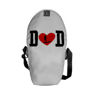 Surfer Dad Heart Courier Bags
