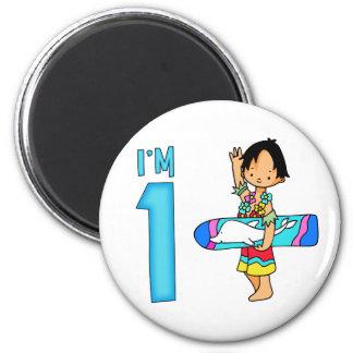 Surfer Dude 1st Birthday 6 Cm Round Magnet