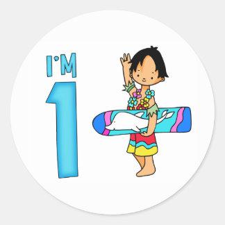 Surfer Dude 1st Birthday Round Sticker