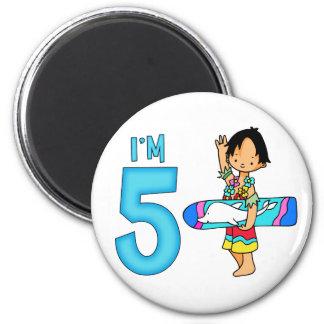 Surfer Dude 5th Birthday 6 Cm Round Magnet