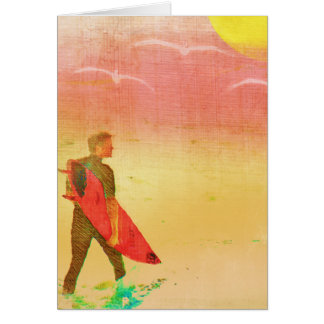 Surfer Dude - Vintage Poster Style Greeting Card