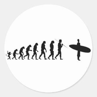 surfer_evolution round sticker