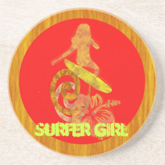 Surfer Girl Brown, Gold, Orange, Banana, and Red-O Beverage Coaster
