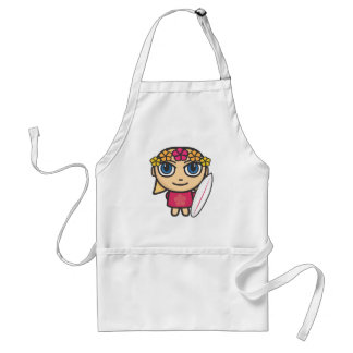 Surfer Girl Cartoon Character Apron