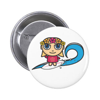 Surfer Girl Cartoon Character Button Badge