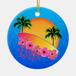 Surfer Girl Christmas Ornament