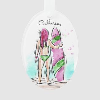 Surfer Girl custom name ornament