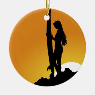 Surfer girl Silhouette Christmas Ornament