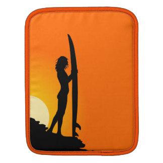 Surfer girl silhouette retro vintage graphic case iPad sleeve