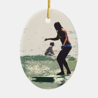 Surfer girls rock christmas ornament
