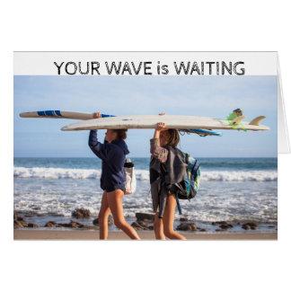 Surfer girls waiting card