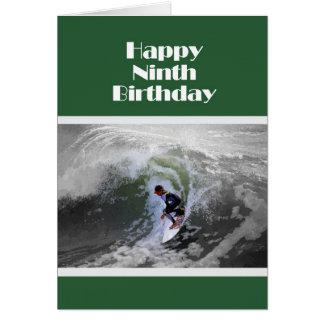 Surfer Happy Ninth Birthday Card
