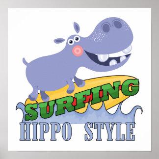 Surfer Hippopotamus Poster