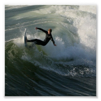 Surfer in a Wetsuit Poster