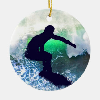 Surfer in Big Wave Christmas Ornament