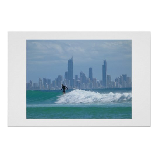 Surfer in front of the Skyscrapers Poster