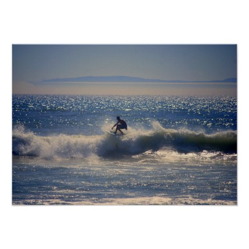 Surfer in Huntington Beach, California Posters