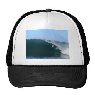 Surfer in the tube blue tropical surfing wave trucker hats
