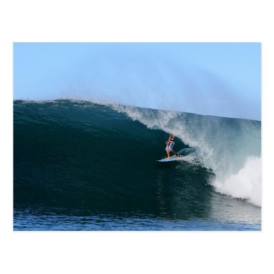 Surfer in the tube blue tropical surfing wave postcard