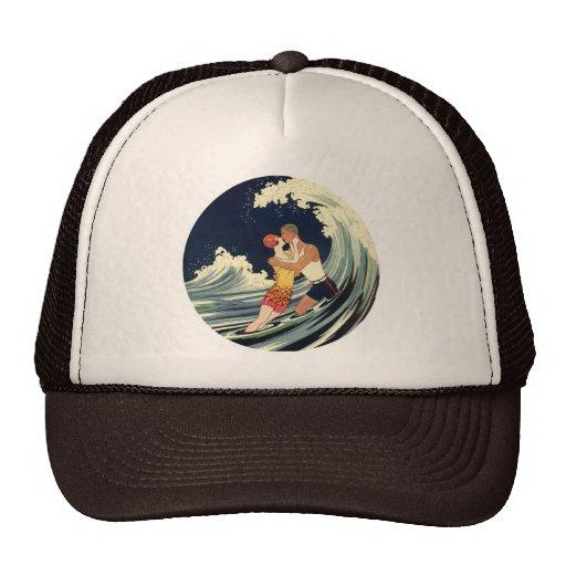 Surfer Lovers Kissing Vintage Illustration Hat