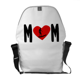 Surfer Mom Heart Courier Bags