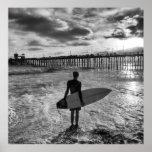 Surfer near Oceanside Pier Print