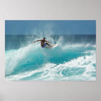 Surfer on a big wave poster print