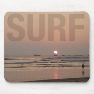 Surfer on Beach at Sunrise Photo Computer Mousepad