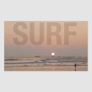 Surfer on Beach at Sunrise Photo Stickers