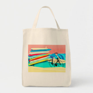 Surfer on Bike carrying Surfboards Tote Bag