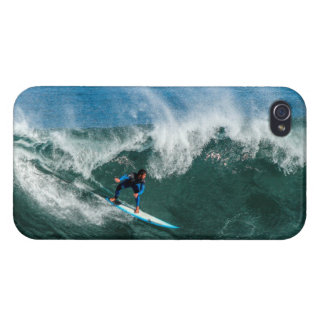 Surfer on Blue and White Surfboard Cover For iPhone 4