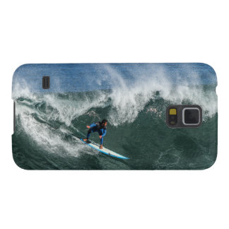 Surfer on Blue and White Surfboard Galaxy S5 Cover