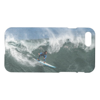 Surfer on Blue and White Surfboard iPhone 8/7 Case