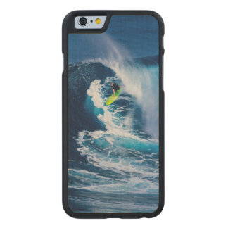 Surfer on Green Surfboard Carved Maple iPhone 6 Case