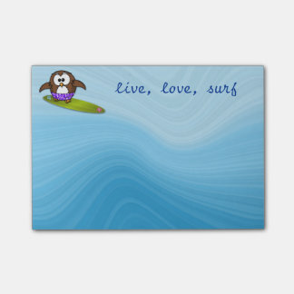 surfer owl post-it notes