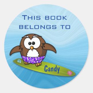 surfer owl round sticker