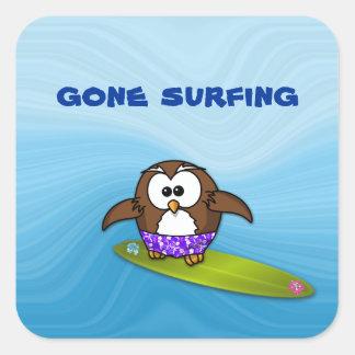 surfer owl square sticker