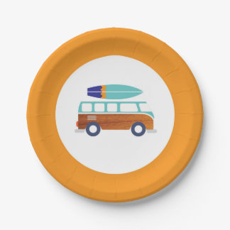 Surfer Paper Plates- Vintage Surfboard Paper Plate 7 Inch Paper Plate