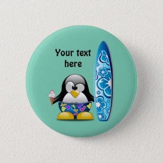 Surfer Penguin with Ice Cream 6 Cm Round Badge
