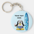 Surfer Penguin with Ice Cream Key Ring