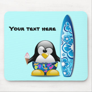 Surfer Penguin with Ice Cream Mouse Pad