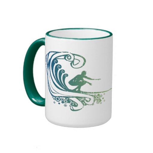 Surfer Riding Teal Blue Ocean Green Waves Mug