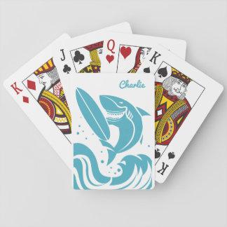 Surfer Shark custom name playing cards