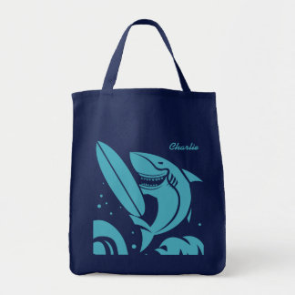 Surfer Shark custom name tote bags