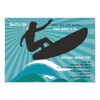 Surfer Silhouette Invitation