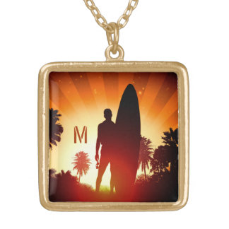 Surfer Sunset custom monogram necklace