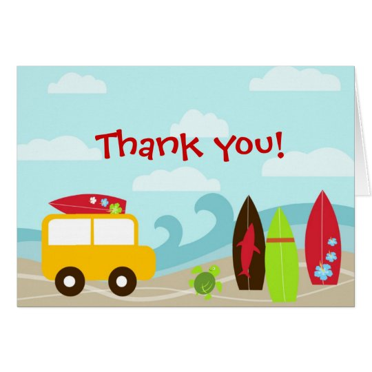 Surfer Surf Birthday Party Thank you note cards