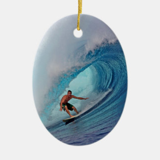 Surfer surfing a huge wave. christmas ornament